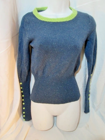 Womens SLEEPING ON SNOW ANTHROPOLOGIE Knit Sweater S BLUE GREEN Button