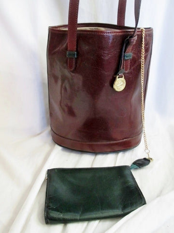 BRAHMIN Leather Purse Shoulder bag Carryall Bucket Bag + Wallet BROWN Hunter Green