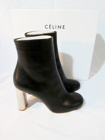 NEW CELINE PARIS Leather High Heel Bootie Ankle Boot 36 BLACK 6 NIB Womens