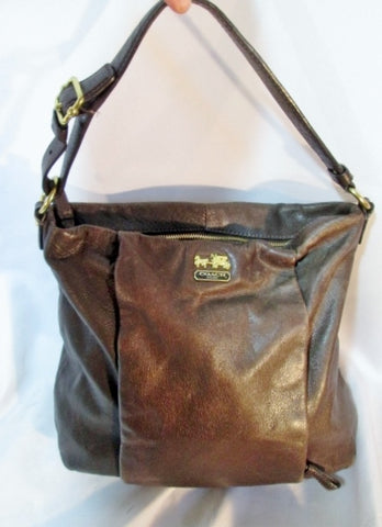 COACH 21224 Madison Isabelle PLEATED Leather Hobo Purse Bag BROWN 3f38f233c52bf