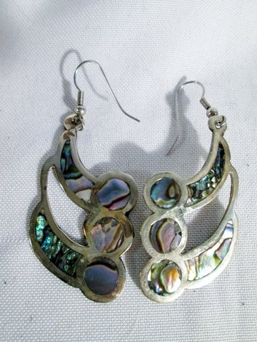 Signed MEXICAN MEXICO ALPACA Silver ABALONE SHELL MERMAID Pierced Earring Set ABSTRACT