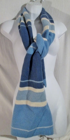 "69"" RALPH LAUREN Knit Wool NECK Warmer SCARF ANGORA BLUE STRIPE Hipster Preppie"
