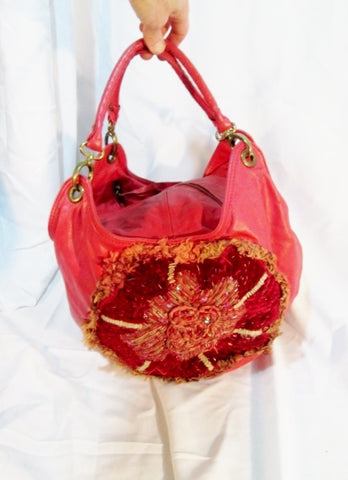 Anthropologie IPA NIMA leather hobo tote purse ROSE RED Floral Rag Boho