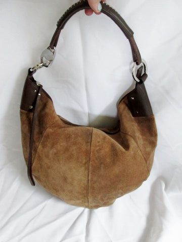 WILSONS LEATHER PELLE STUDIO Suede hobo shoulder bag purse BROWN satchel