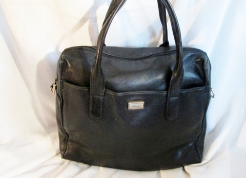 PERLINA NEW YORK  leather bag tote satchel medical bag bowler BLACK clutch