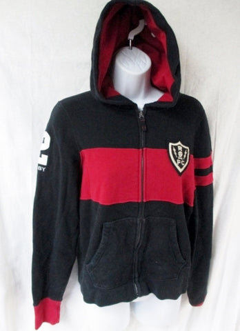 Boys Girls Juniors RALPH LAUREN RUGBY Sweatshirt JACKET Hoodie L BLACK RED