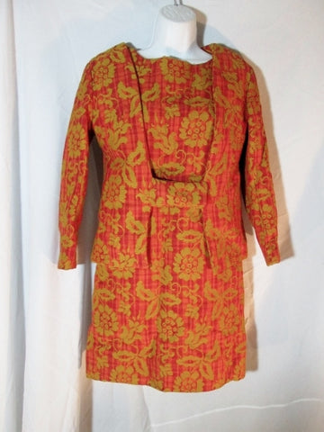 Vintage Womens MAD JACS Dress Suit Set S ORANGE YELLOW GOLD Brocade