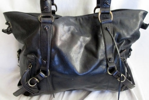 HYPE leather satchel medical shoulder bag tote strappy goth BLACK cyberpunk emo