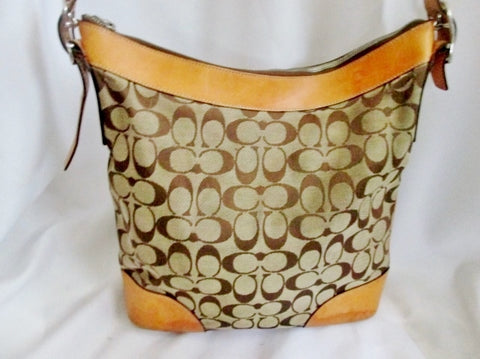COACH 6346 CHELSEA Signature C Jacquard Hobo Handbag Satchel KHAKI Leather BROWN