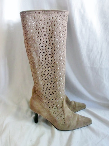 Womens BEE FLY JOAN SUEDE LEATHER Cut Out Boots High Heel 9 TAN BEIGE Diva