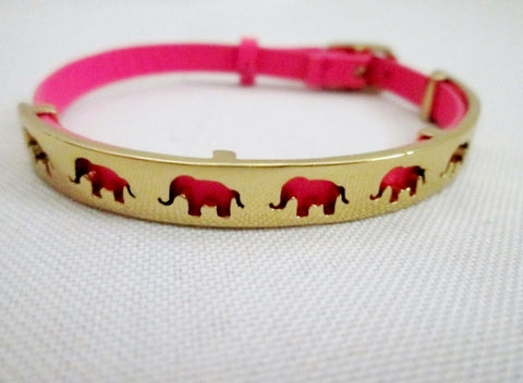 ELEPHANT TRUNK UP Good LUCK PINK LEATHER Band Bracelet Wrist Cuff GOLD
