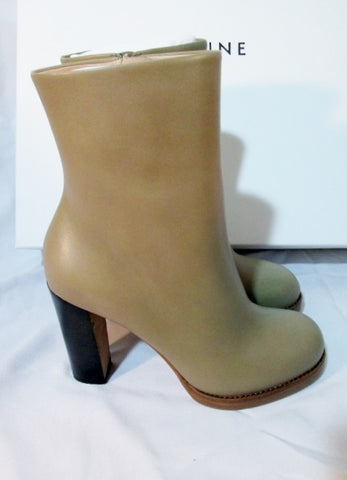 NEW NIB Womens CELINE PARIS Leather High Heel Bootie Ankle Boot 36 TAUPE 6 TAN