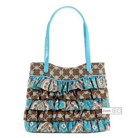 NEW VERA BRADLEY AQUA BLUE BROWN Vegan Quilted RUFFLE TIER Satchel Bag Hobo