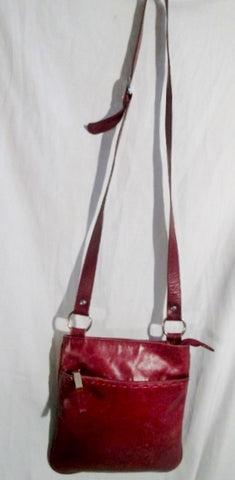 DEBENHAMS Leather Shoulder Bag Purse Swingpack Cross Body Pouch Stitch RED BROWN BURGUNDY