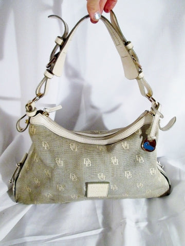 151e6b6479 DOONEY   BOURKE Canvas Leather Hobo Purse Satchel Handbag BEIGE ECRU WHITE