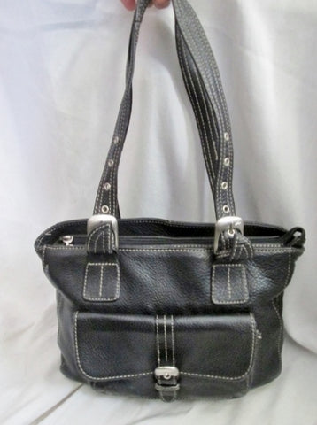 STONE MOUNTAIN leather satchel tote shoulder saddle bag purse BLACK M