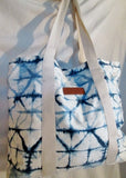 BOND EYE AUSTRALIA BATIK Shopper Tote Shoulder Book Bag Carryall WHITE BLUE Vegan