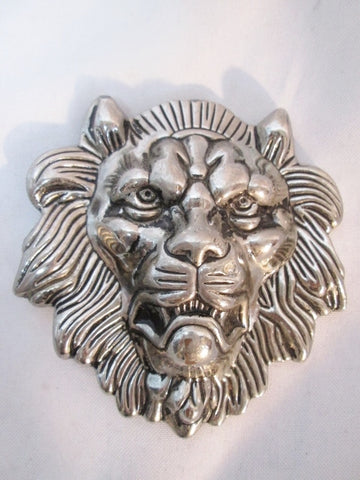 "4"" LION MEDIEVAL BELT BUCKLE Tattoo Art BIKER Rider Rocker SILVER Warrior King"