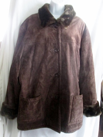 Womens DENNIS BASSO Suede Leather Faux SHEARLING Fur jacket coat BROWN 1X