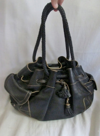 COLE HAAN VILLAGE SP06 leather handbag shoulder bag satchel Tote BLACK FRINGE