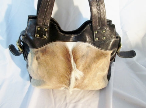 DIANE GAIL SOUTH AFRICAN SPRINGBOK FUR HAIR Leather Tote Satchel Bag BROWN