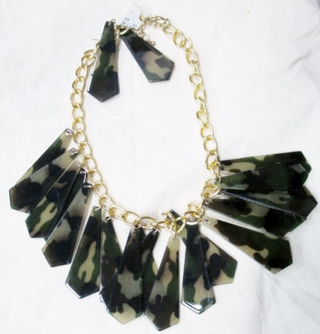 NEW Chunky Bib CAMO Dangle Necklace Collar Choker Red Carpet Earring Set URBAN STYLE