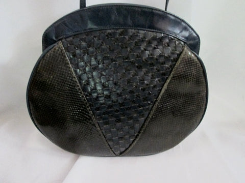 BARBARA BOLAN TOO leather woven shoulder bag purse crossbody Skin BLACK Argentina
