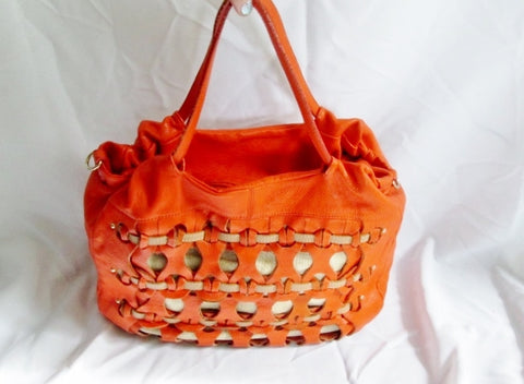 ALEANTO COLLEZIONI ITALY leather tote shopper woven PUMPKIN ORANGE bag