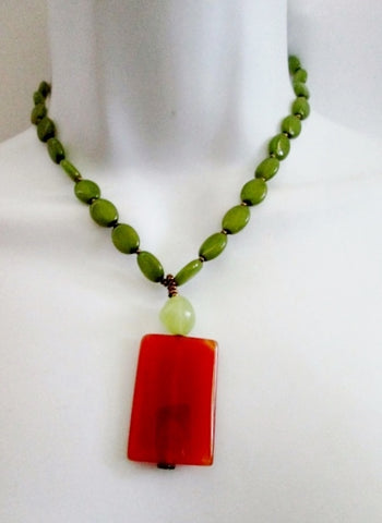 "14"" Stone Acrylic Bead Necklace Choker Collar BROWN AMBER AVOCADO GREEN Bead"