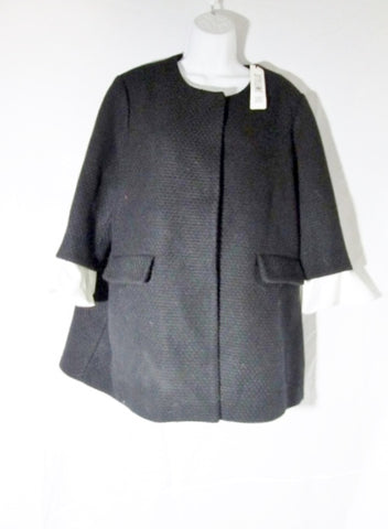 NEW NWT Womens STYLEWE A FULI Coat Jacket BLACK WHITE 3XL Ruffle
