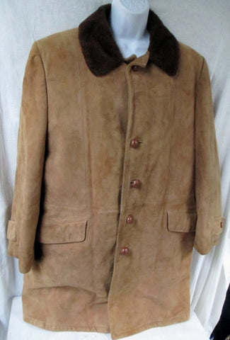 Vtg Womens W WALSH & SONS NY SUEDE Leather jacket coat BROWN 42 S