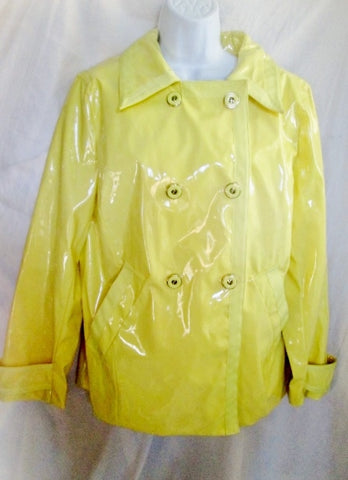 Womens NEW YORK & COMPANY Raincoat TRENCH jacket coat Slicker L YELLOW LEMON