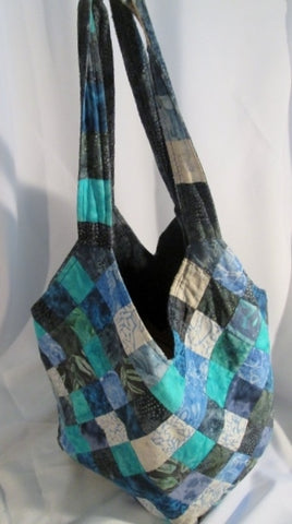 Handmade PATCHWORK Quilted Cloth BAG Tote Satchel Sling BLUE SQUARE GREEN GRAY