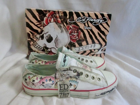 Womens ED HARDY Lowrise Classic WHIFU Shoes Sneaker Trainer 9 WHITE PIRATE