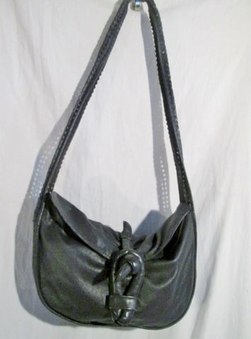 Vtg BRIO!  Perforated leather slouch hobo satchel shoulder bag bucket sling BLACK GOTH
