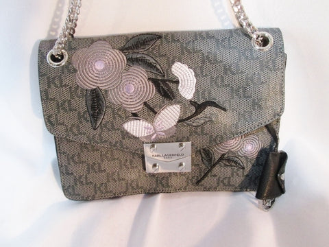 NEW KARL LAGERFELD Embroidered BUTTERFLY messenger flap crossbody bag GRAY FLORAL