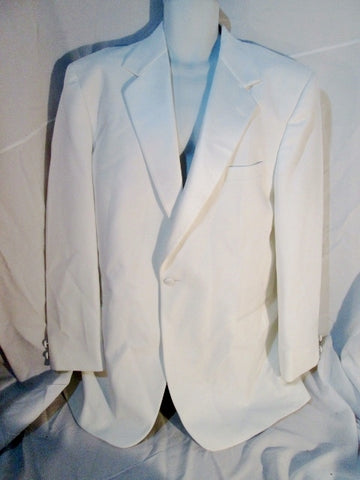 Vintage 70s 80s Miami Vice After Six Tuxedo Sport Jacket Suit Blazer 43 WHITE Formal