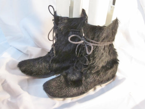 Womens TOD'S ITALY Leather Sherpa Mukluk Hair Fur BOOT Shoe BLACK 36 / 6 Lace Up