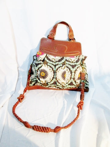 HOSS INTROPIA FLORAL FLOWER Leather Hobo Purse Crossbody Shoulder Bag Tote Brown