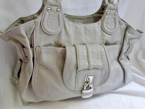 ALDO Faux Leather Vegan  Satchel TOTE Bag Shoulder Saddle Bag Carryall GRAY