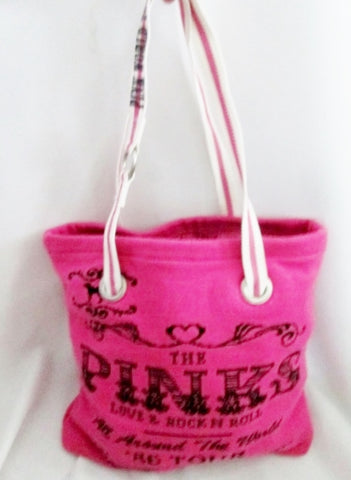VICTORIA'S SECRET PINKS LOVE ROCK N ROLL Knit TOTE Bag Shopper Carryall '86 World Tour