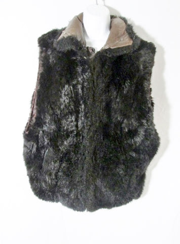 Womens ANDREW MARC OPOSSUM fur leather jacket coat vest BLACK L Boho