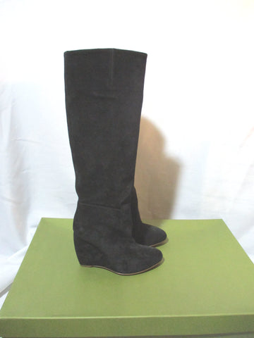 NEW RUPERT SANDERSON ATOM Suede Knee High Wedge Boot 36.5 BLACK Leather