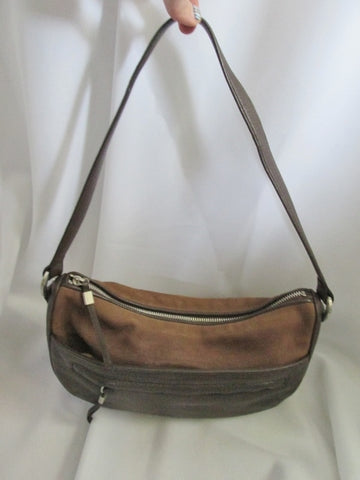 ELLEN TRACY Leather Suede indie hobo satchel shoulder bag purse BROWN CHOCOLATE