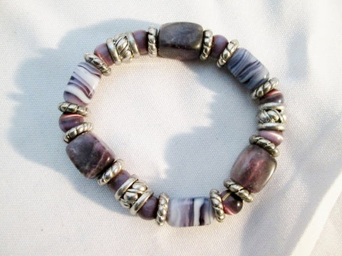 Handmade AMETHYST STONE SILVER Bead BRACELET Cuff Bangle PURPLE Adjustable