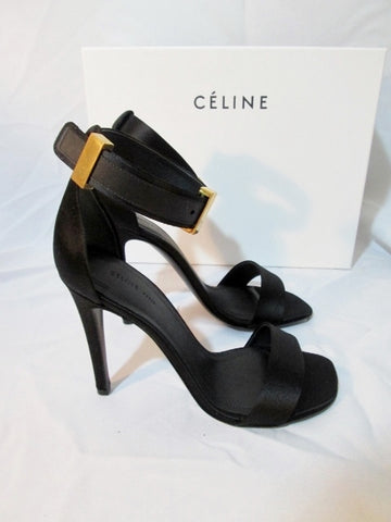 Womens CELINE PARIS Strappy High Heel Sandal Satin ITALY Shoe 36 6 BLACK GOLD