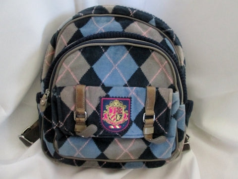 JUICY COUTURE ARGYLE DIAMOND BACKPACK Shoulder Rucksack Travel Book BAG BLUE School Book
