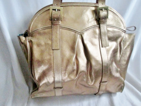 HELEN Metallic Genuine Leather Tote Satchel Bowler Bag Purse Handbag GOLD Carryall