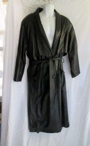 MENS GIII USA Made Leather jacket long coat maxi BLACK L lined parka trench belt
