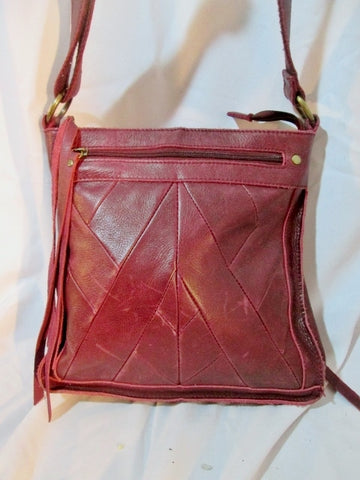 LUCKY BRAND LEATHER CHEVRON Shoulder Bag Crossbody Purse RED BURGUNDY Swingpack